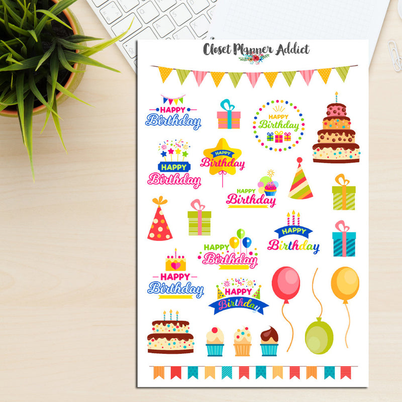 Happy Birthday Planner Stickers (S-201)