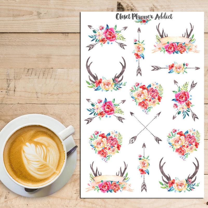 Watercolour Flowers and Antlers Planner Stickers (S-223)