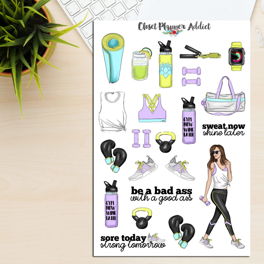 Fitness Girls Workout Planner Stickers (S-237)