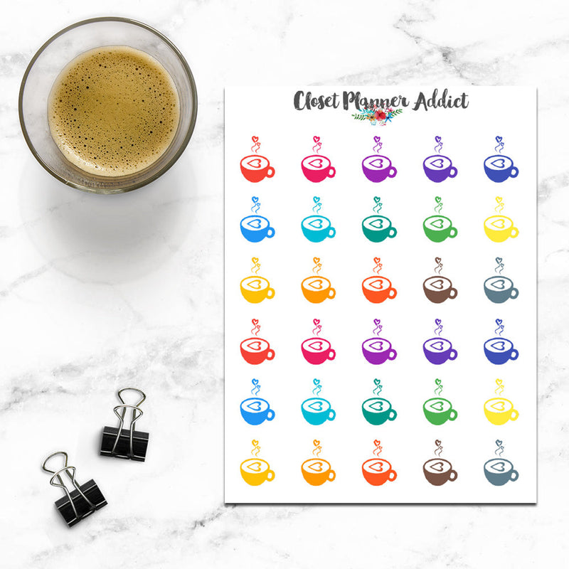 Coffee Cup Planner Stickers (I-065)