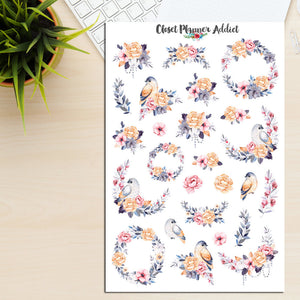 Watercolour Birds And Flowers Planner Stickers (S-246)