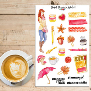 Autumn Planner Girl Planner Stickers (S-211)