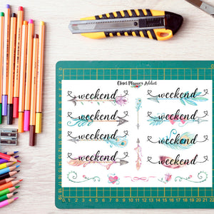 Watercolour Weekend Planner Stickers (FP-005)