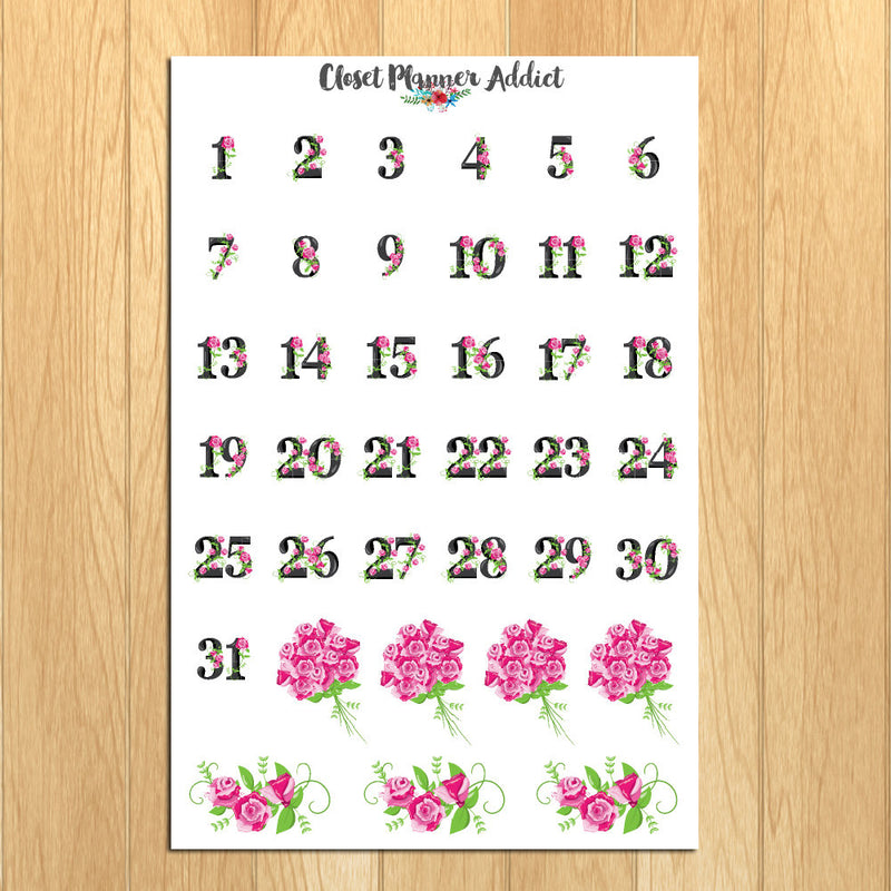 Floral Numbers and Dates Planner Stickers (DATE-002)