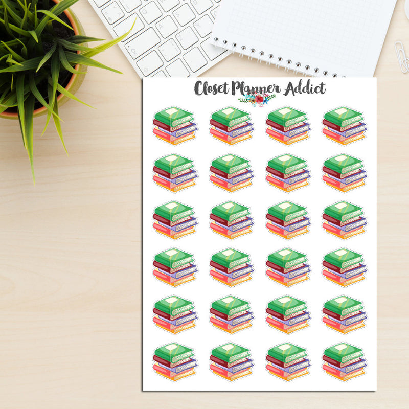 Stack of Books Planner Stickers Currently Reading Stickers