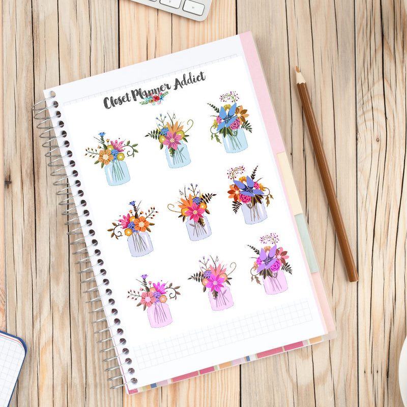 Mason Jar of Flowers Planner Stickers