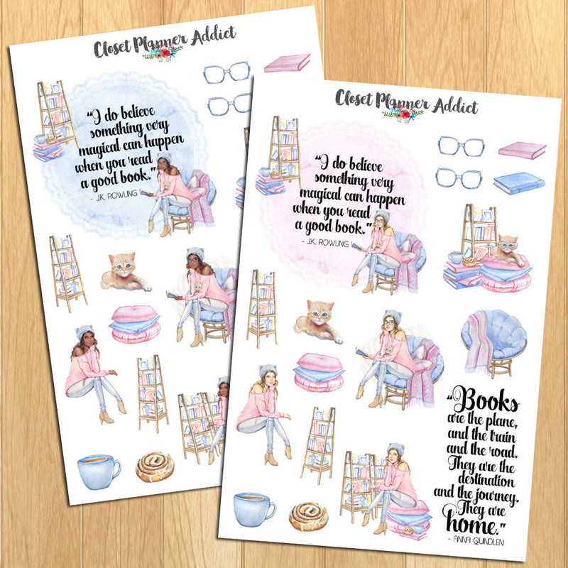Watercolour Book Lovers Planner Stickers