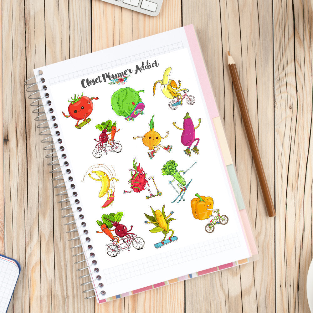 Sporty Veggies Planner Stickers (S-227)