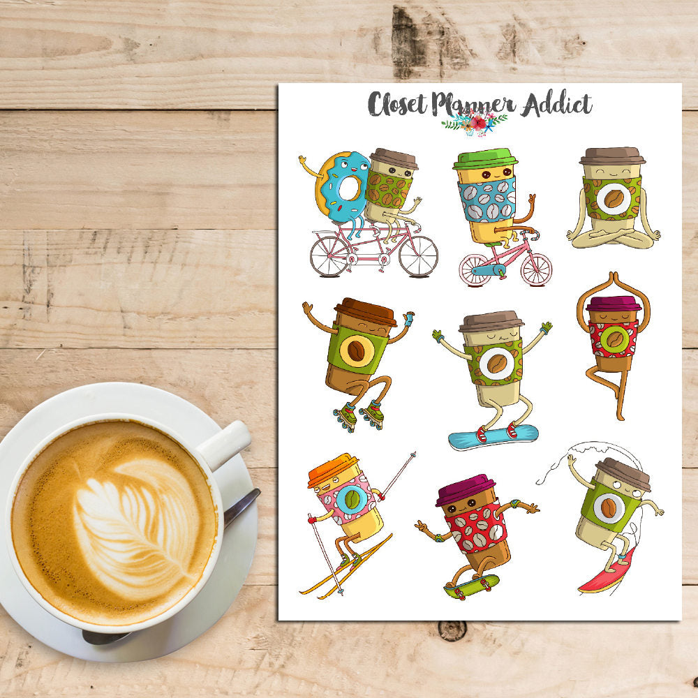 Sporty Coffee Cups Planner Stickers (S-230)