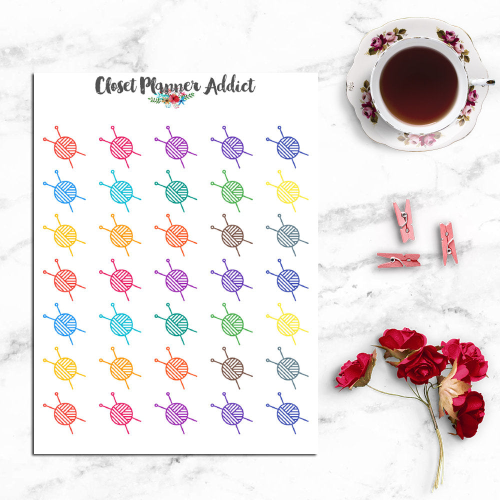 Knitting Planner Stickers (I-070)