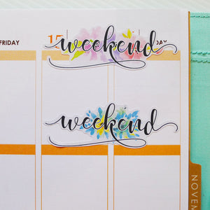 Watercolour Weekend Planner Stickers (FP-008)