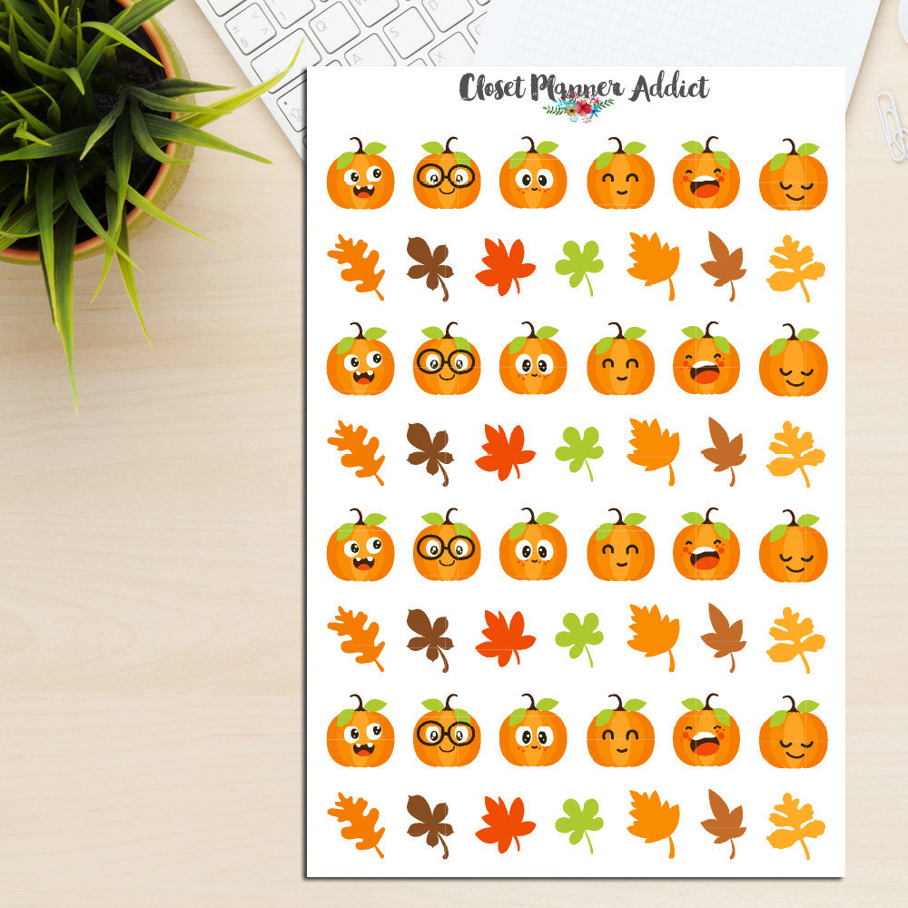 Cute Pumpkin Emoji Planner Stickers (S-240)