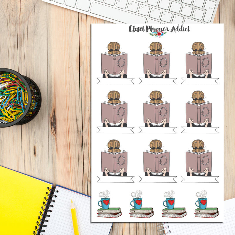 Girl Reading A Book Planner Stickers