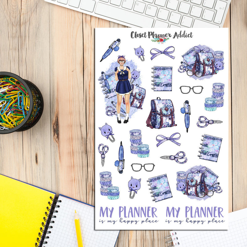 Kawaii Watercolour Planner Girl Planner Stickers