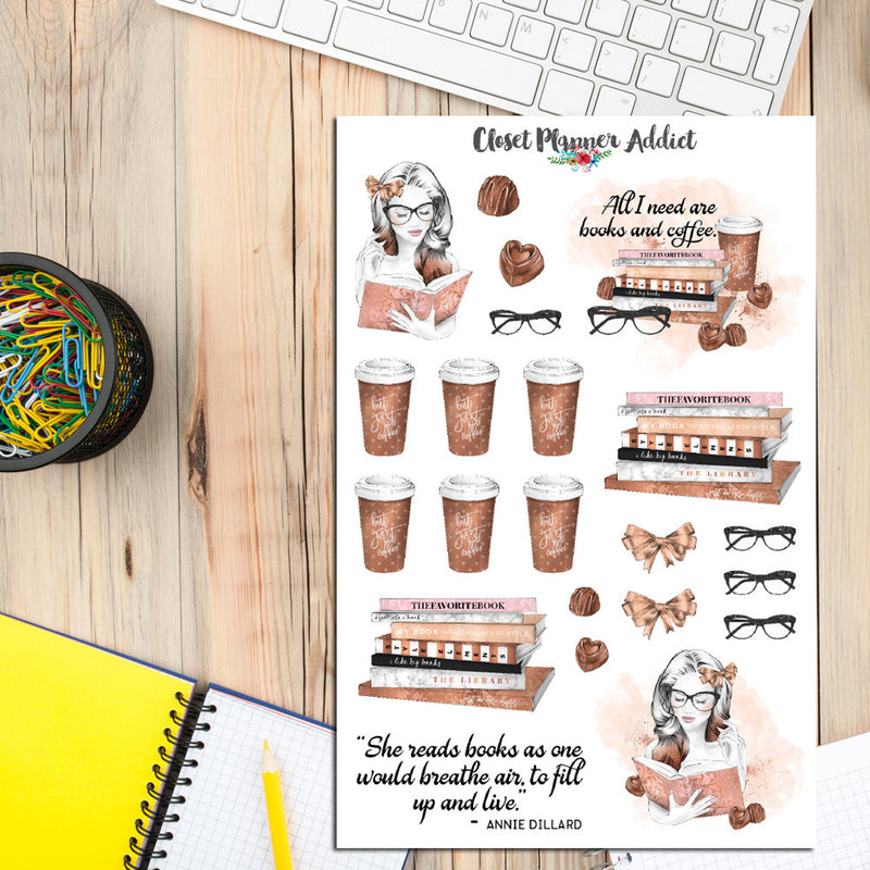 Book and Coffee Lovers Planner Stickers (MGB-FEB17)