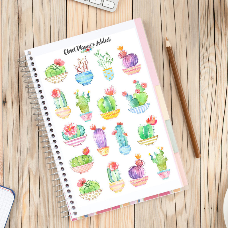 Cute Watercolour Cactus Planner Stickers (MGB-APR17)