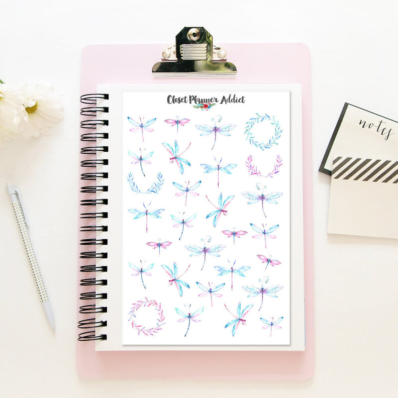 Watercolour Dragonflies Planner Stickers