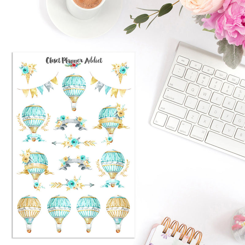 Watercolour Magic Hot Air Balloons Planner Stickers