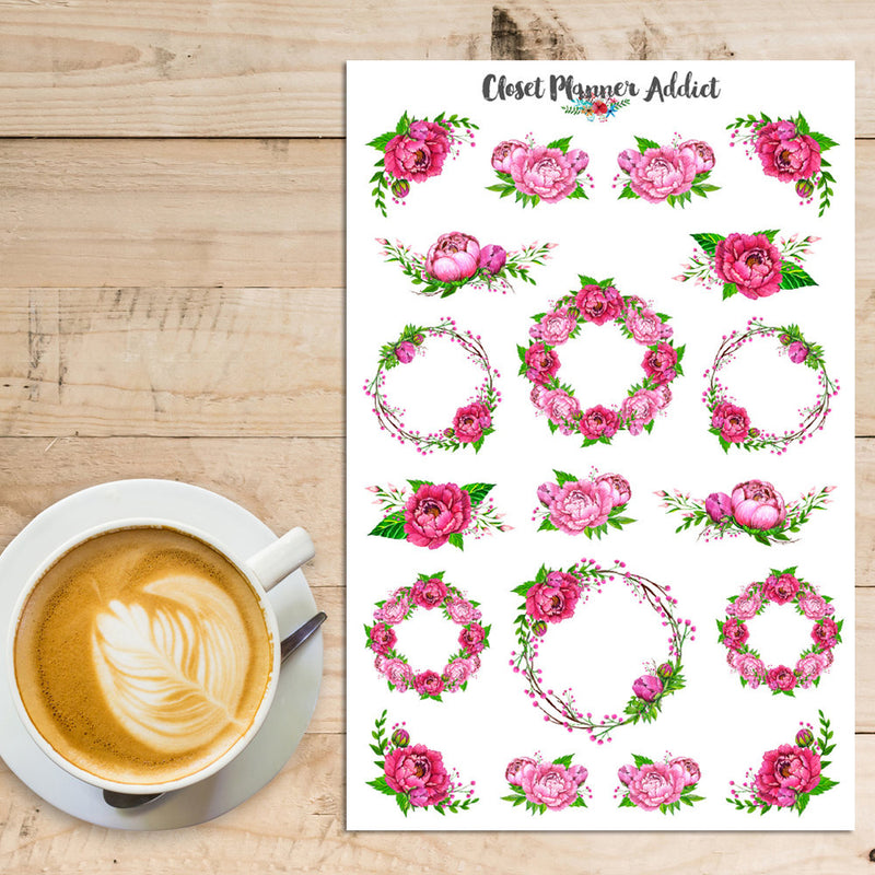 Watercolour Pink Peonies Planner Stickers