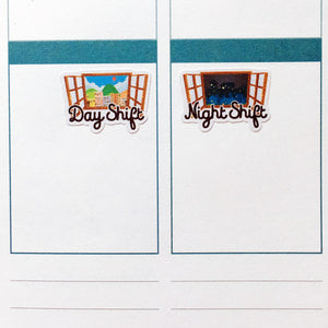 Day Shift and Night Shift Planner Stickers