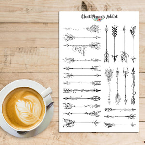 Illustrated Boho Arrows Planner Stickers