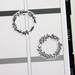 Illustrated Floral Wreaths Planner Stickers