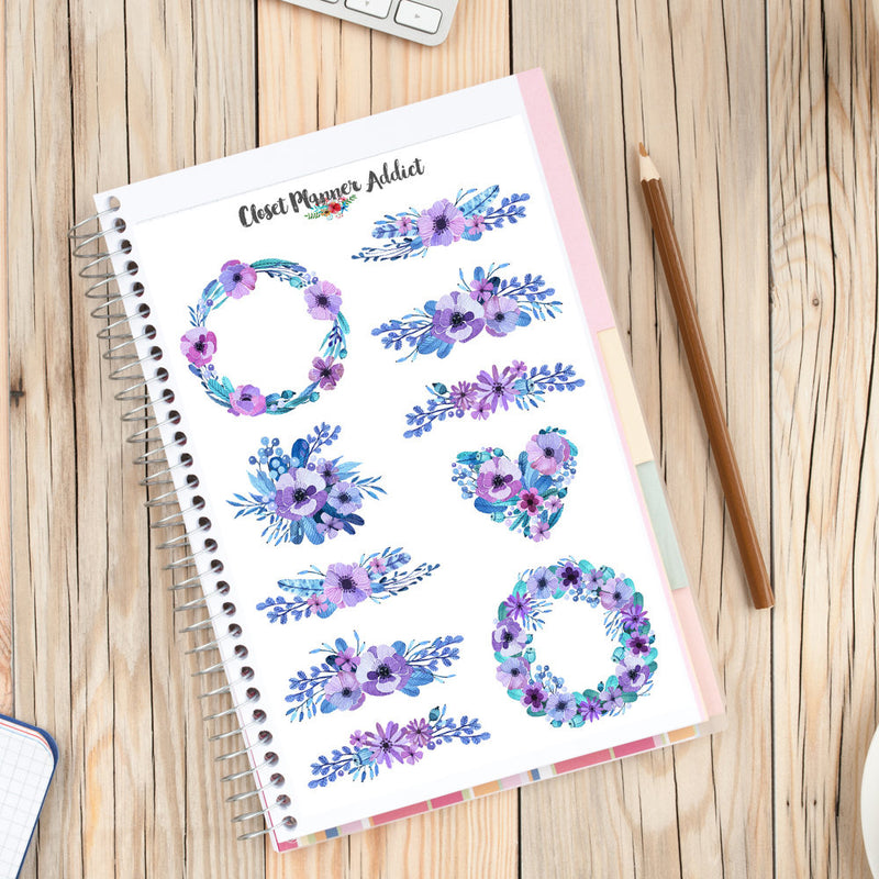 Purple Watercolour Flowers Planner Stickers