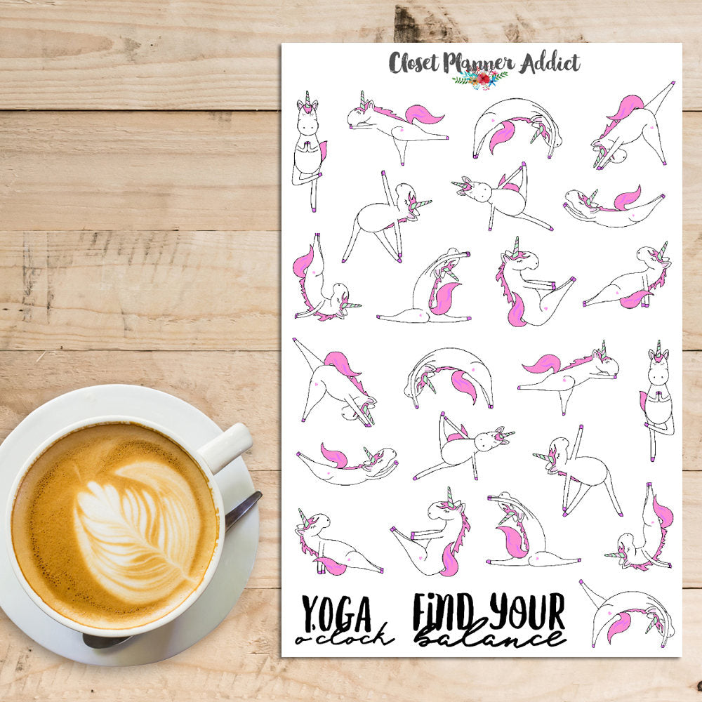 Unicorns Doing Yoga Planner Stickers