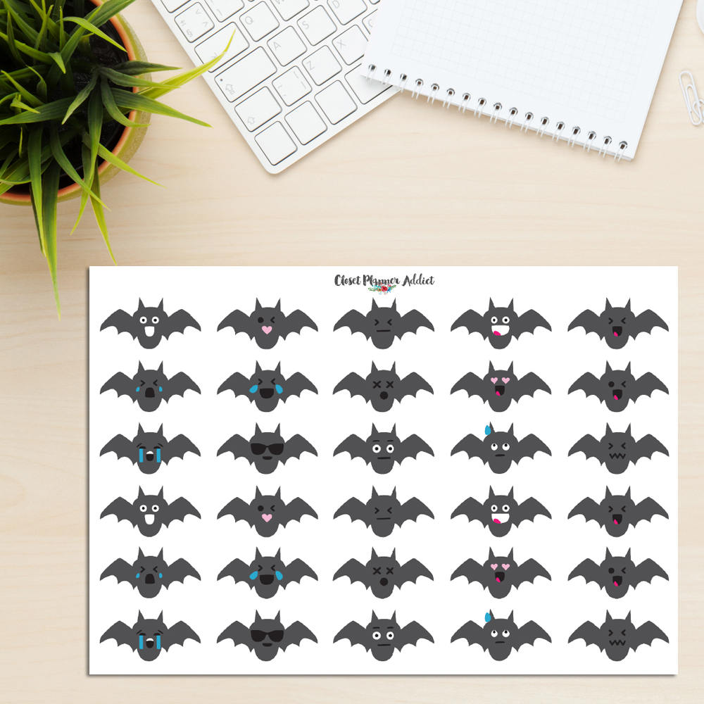 Bat Emoji Planner Stickers