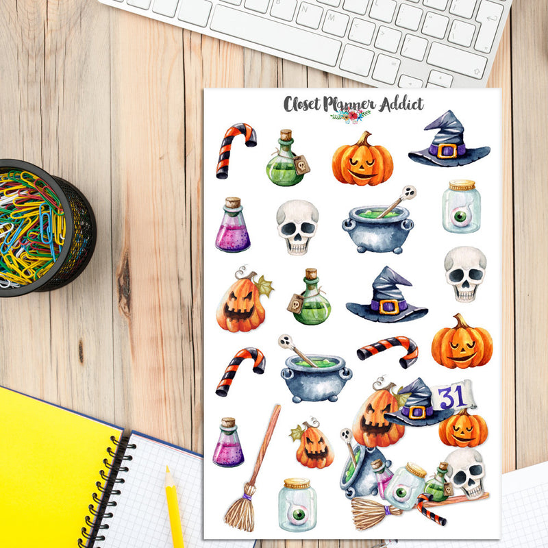 Watercolour Halloween Planner Stickers