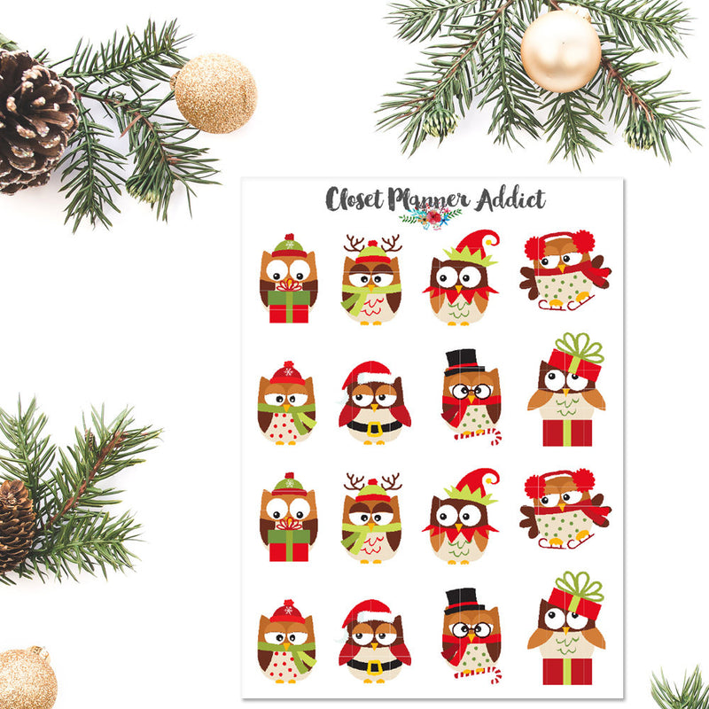 Cute Christmas Owls Planner Stickers