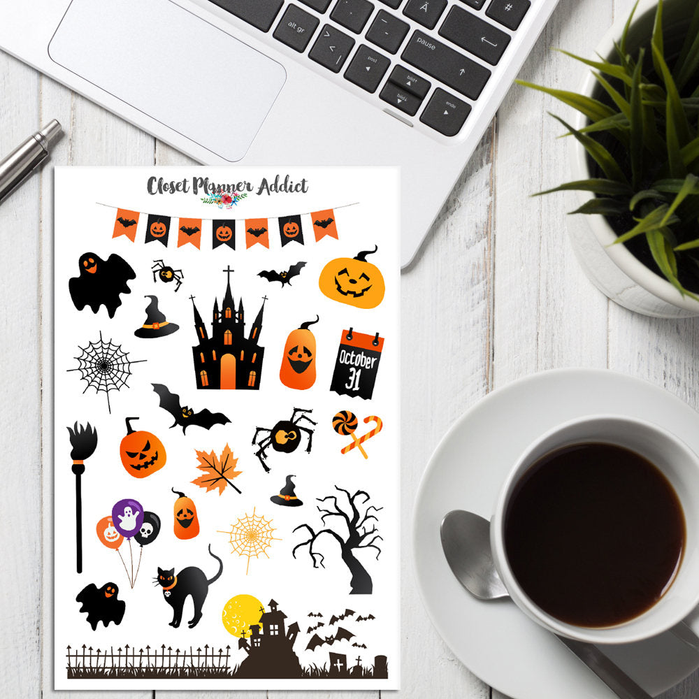 Cute Halloween Planner Stickers
