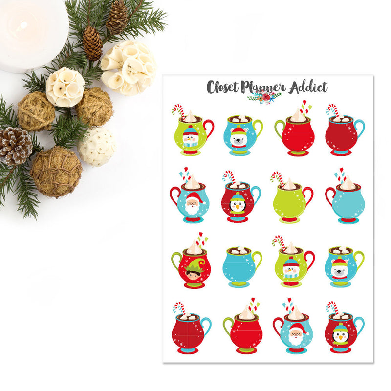 Christmas Hot Chocolate Planner Stickers