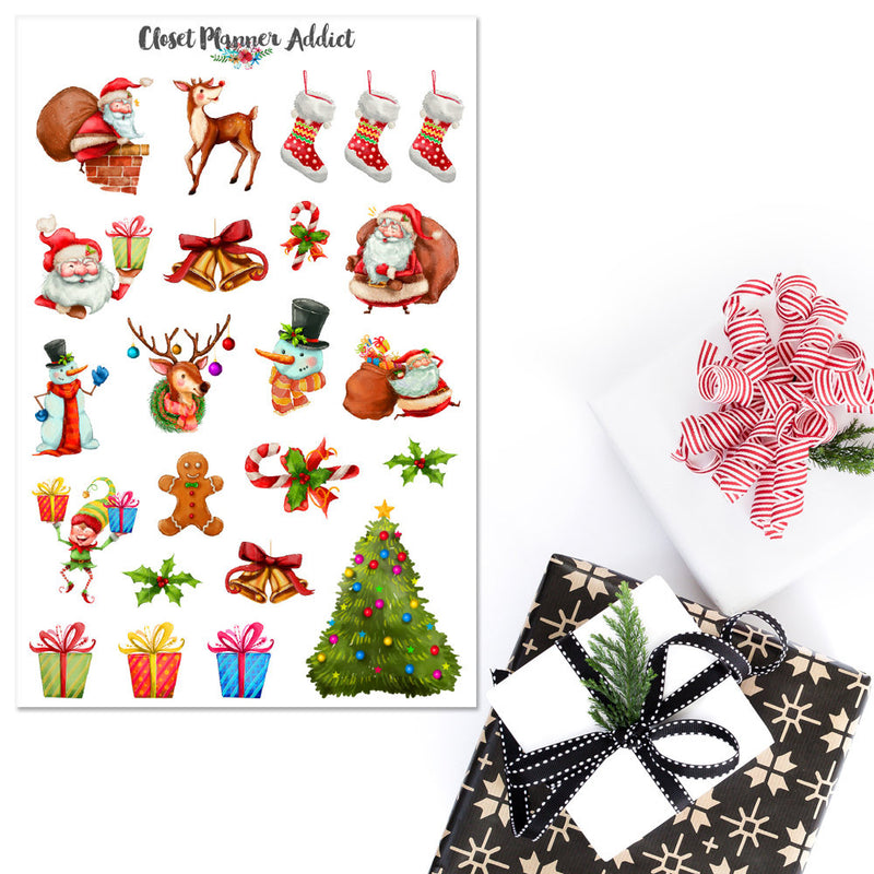 Watercolour Christmas Santa Claus Planner Stickers