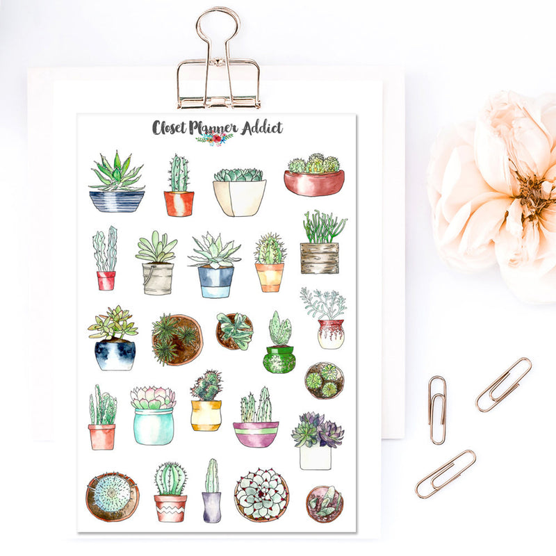 Potted Succulent and Cactus Planner Stickers (S-304)