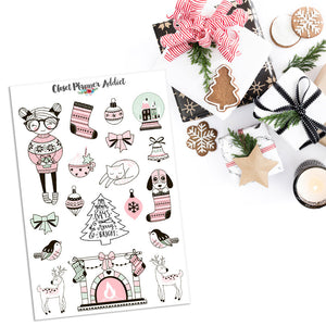 Pink Christmas Planner Stickers (MGB-NOV17)