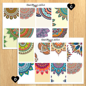 Colourful Mandala Backgrounds Planner Stickers