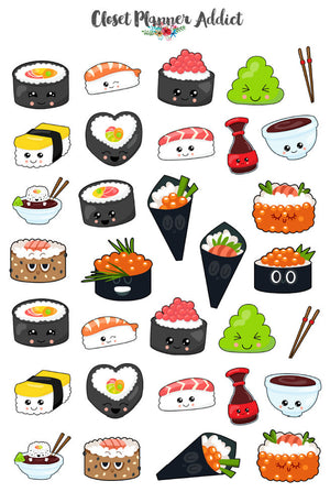 Kawaii I Love Sushi Planner Stickers (MGB-OCT17)