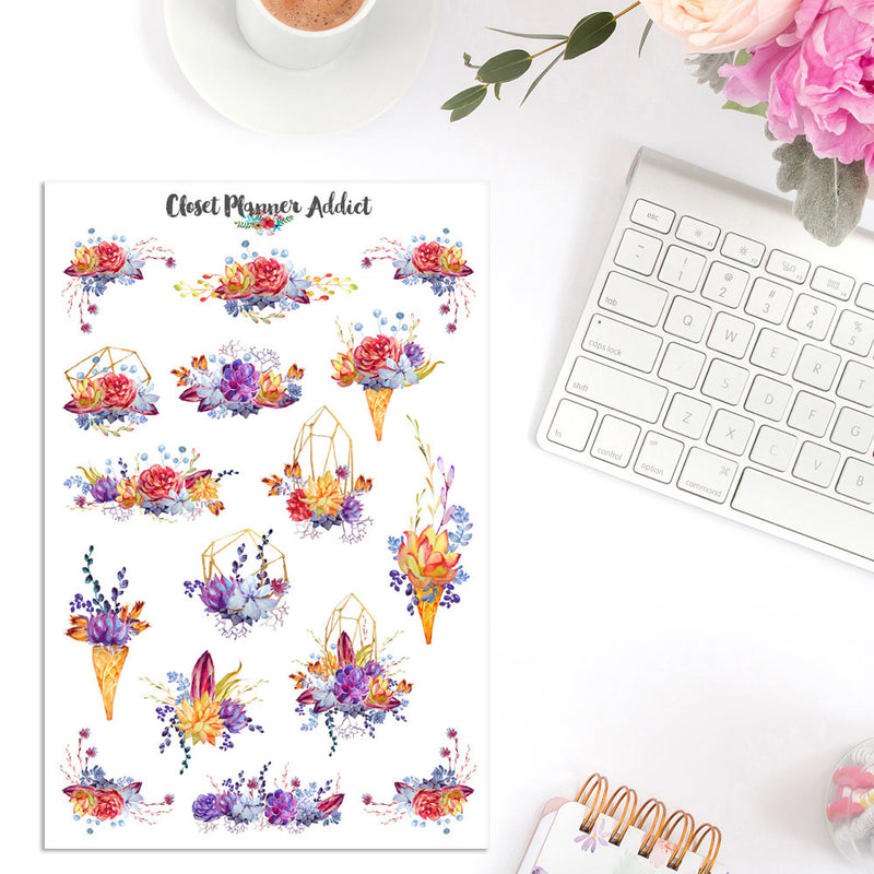 Watercolour Succulent and Cactus Planner Stickers