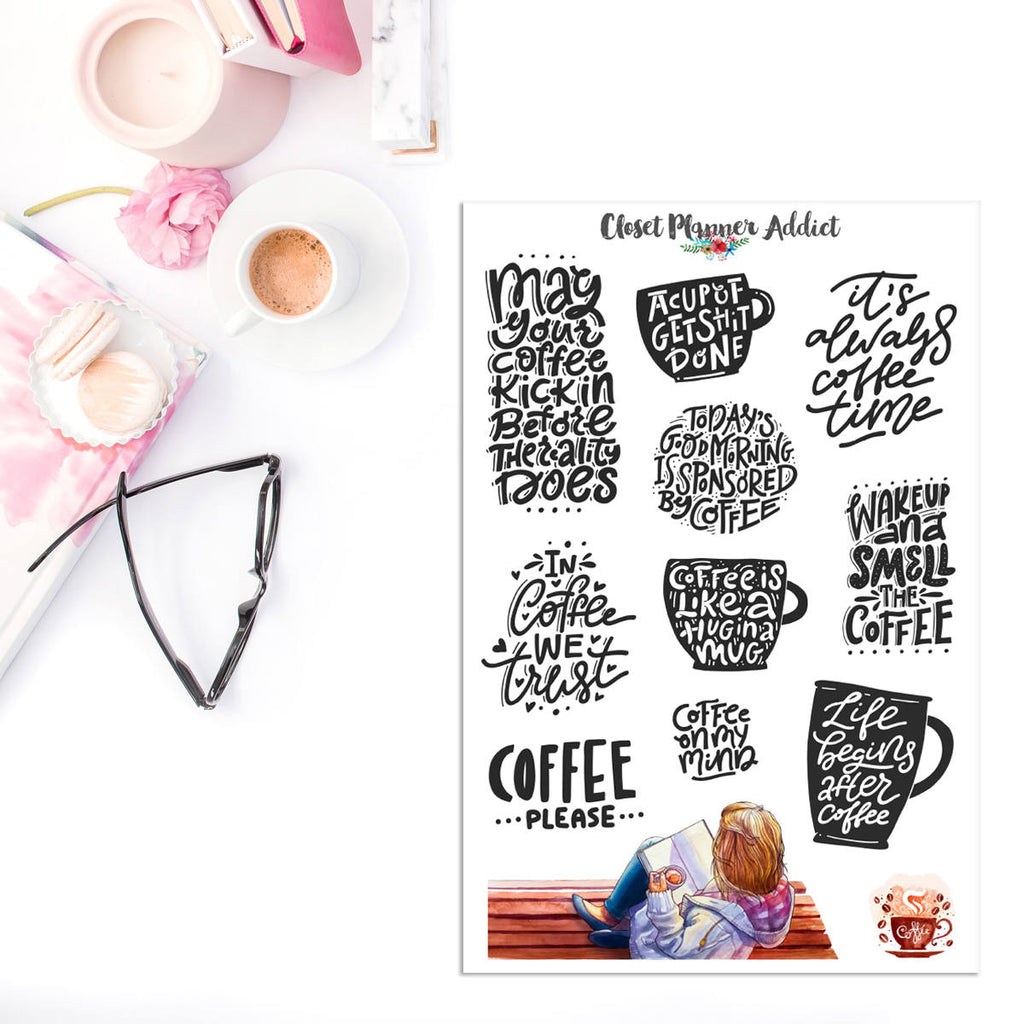 Coffee Quotes Planner Stickers (MGB-JAN18)