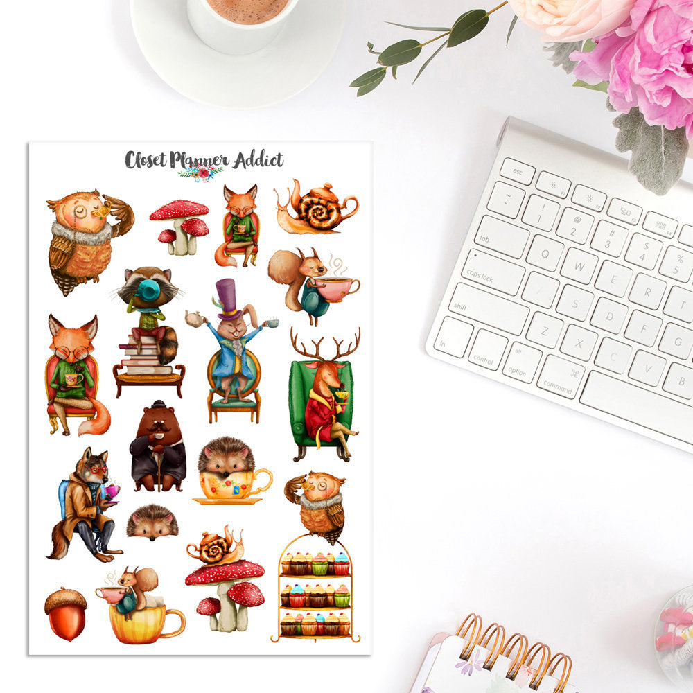 Watercolour Animal Tea Party Planner Stickers (S-311)