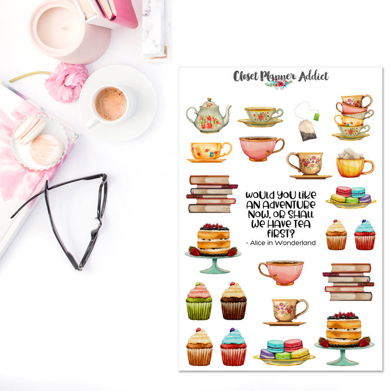 Watercolour Tea and Cake Planner Stickers (S-312)