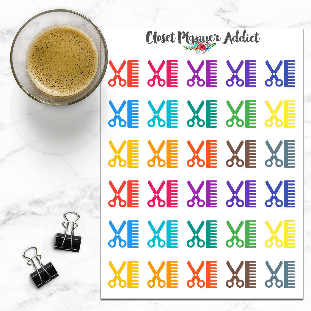 Haircut Icons Planner Stickers (I-011)