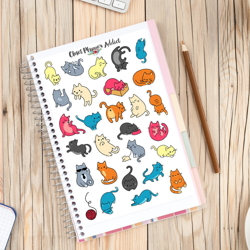 Funny Cats Planner Stickers (S-221)
