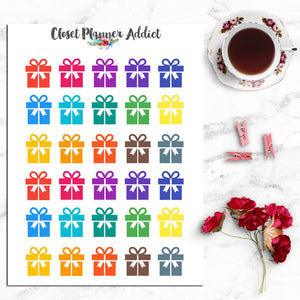 Gift Box Icon Planner Stickers (I-010)