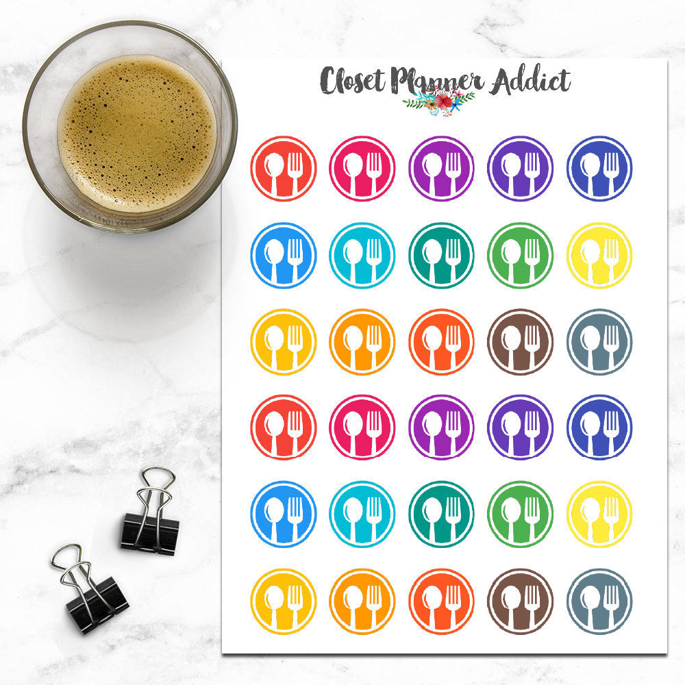 Meal Icons Planner Stickers (I-009)