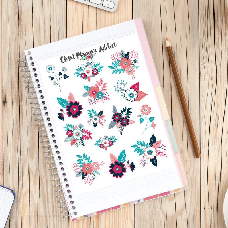 Navy and Pink Floral Planner Stickers (S-209)
