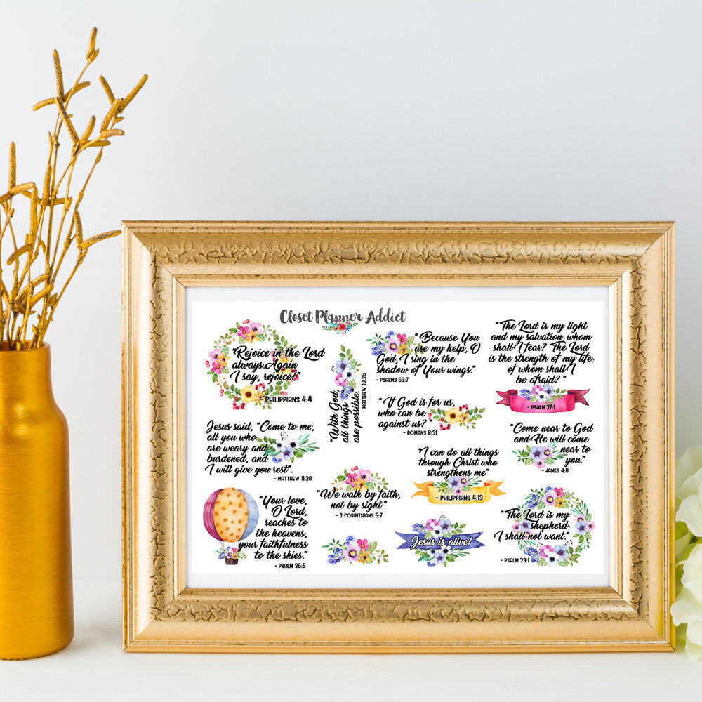 Christian Bible Verses and Scriptures Planner Stickers (MS-018)