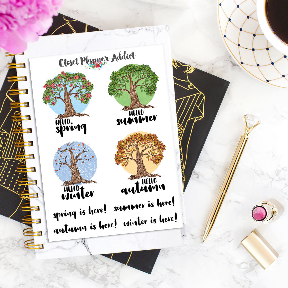 Hello Spring Summer Autumn Winter Planner Stickers (S-313)