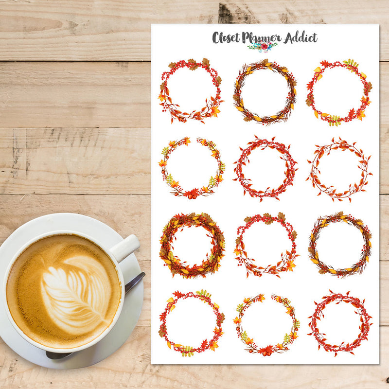 Autumn Wreaths Planner Stickers (S-314)